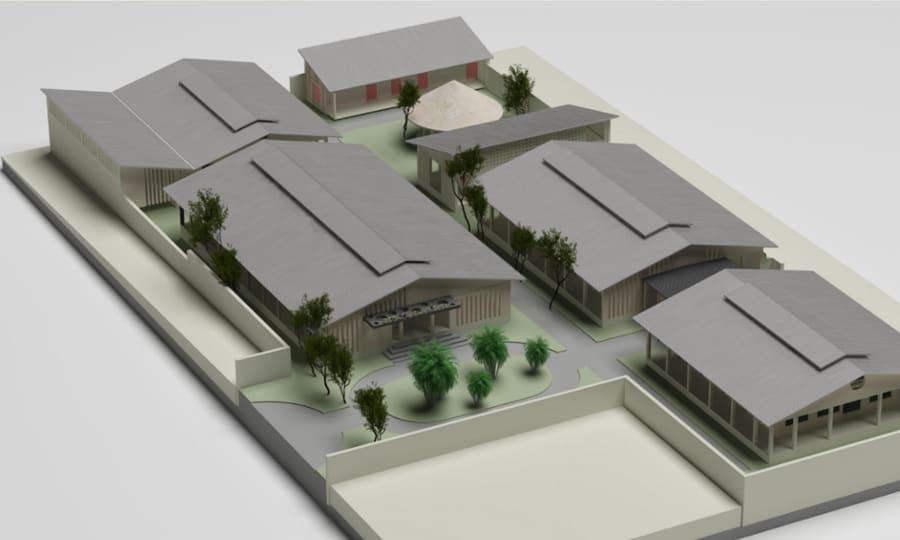 maquette nieuw ziekenhuiscomplex Mbuji Mayi